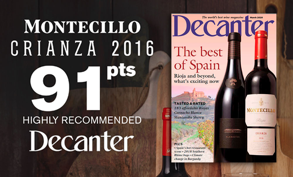 Montecillo Crianza 2016, with 91 points, is the latest Decanter cover star